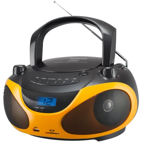 SENCOR SPT 228BO, Tragbares Radio mit CD/MP3-Player (AM/FM-Stereo Receiver, LCD-Display, 2X 15 Watt, USB) Schwarz/Orange