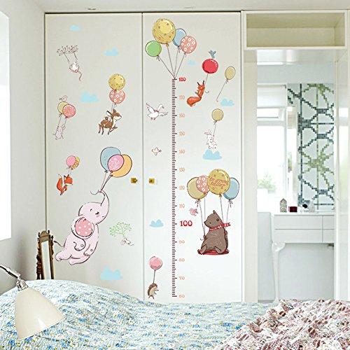 yunnuopromi Ballon Tier Kinderzimmer Höhe Messen Wand Aufkleber Kinder Schlafzimmer Decor 23.62 x 35.53 inch