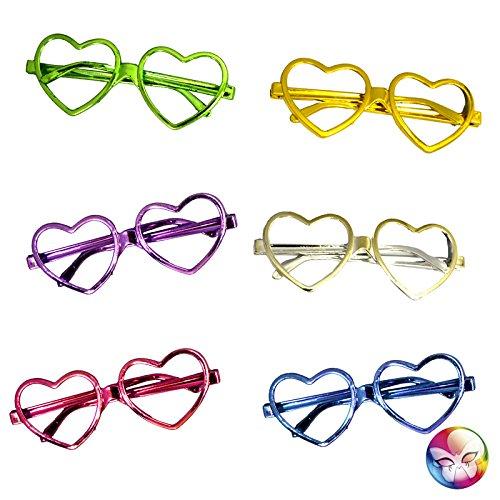 Unbekannt Aptafêtes-ac1128-Brille Herzen Metallic ohne Gläser