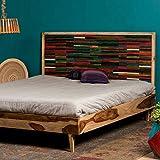 Native Home Doppelbett, 180 x 200 cm, mit Lattenrost, ohne Matratze, mit Kopfteil, aus Holz, massiv, Bettgestell, bunt