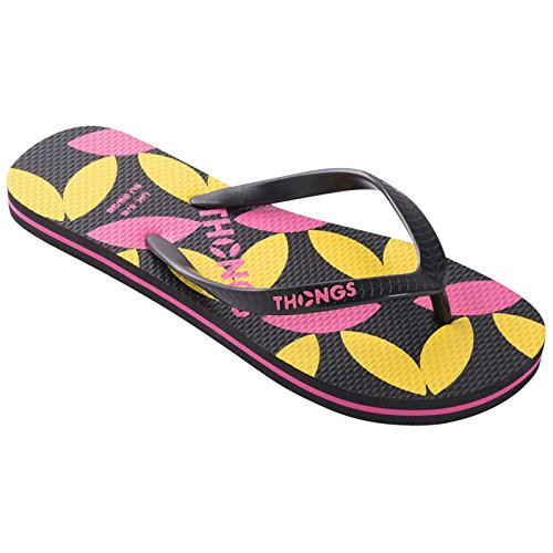 Badeschuhe New Flip Flops, Damen Sandalen Black Print Design
