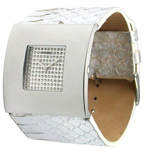 Moog Paris Damier Women's Watch with White Dial, Silver Genuine Snake Skin Strap & Swarovski Elements - M44207SF-005