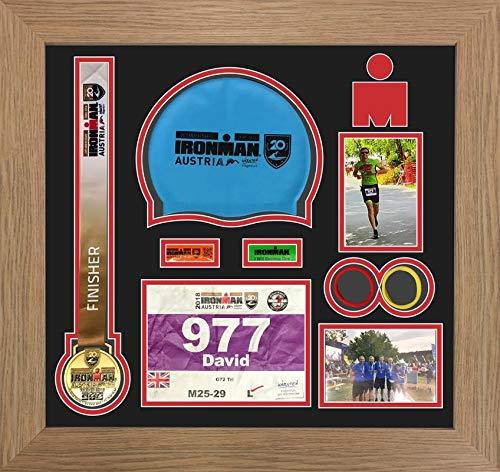 Kwik Picture Framing Ltd Ironman Austria Triathlon Marathon, Running Medal Swimming caps Display Frame Black Mount - Oak Frame
