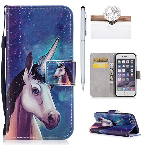 Custodia iPhone 6,iPhone 6S Custodia in pelle,Felfy Belle Colorato Dipinto Elegante Lusso Rigida Fantasia Design Stand Flip PU pelle Portafoglio/Wallet Cuoio/Libro Bookstyle Leather Case per Carte di  Unicorno