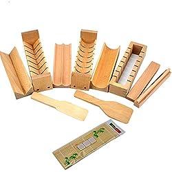 Warrah sushi fare kit set di legno, faggio naturale sushi Maker, riso roller roll muffa cutter, Legno, Whole Set