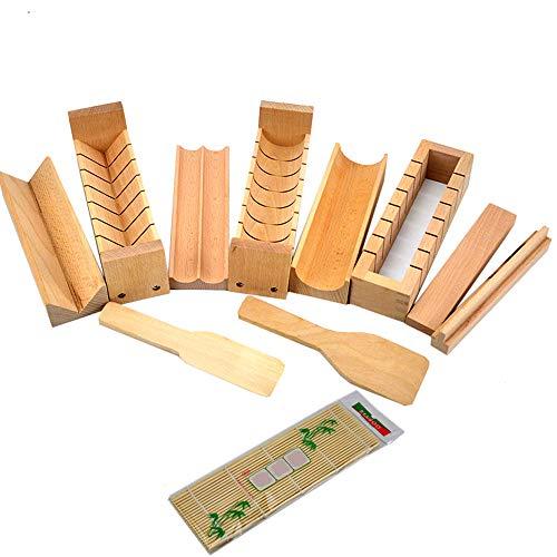 Warrah Holz Sushi-Set, Buche natur Sushi Maker, Reis Rolle Form Roller Cutter, holz, Whole Set