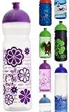 ISYbe Trinkflasche 1000ml Blumen lila/transparent, schadstofffrei, spülmaschinengeeignet, auslaufsicher