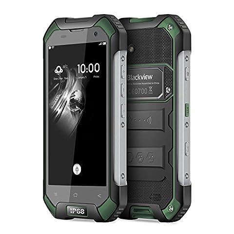 Blackview BV6000S,IP68,Androïd 6.0, 4500mAh grand Batterie,4.7 pouce HDips 720*1280,2GB RAM+16GB ROM,2MP+8MP caméra,MT6737T Quad-coeur 1.5 GHz,4g Débloqué outdoor Etanche/Antichoc/Étanche à la poussière smartphone,VERT