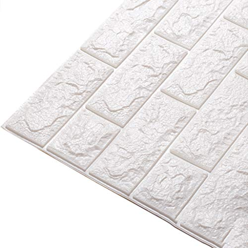 YNFNGXU PE Schaum Reduzierung Lärm Simulation Relief Mauerwerk 3D Wallpaper DIY Wandaufkleber Schlafzimmer Restaurant Wanddekoration 77x70 cm (Color : White, Size : 45pack) -