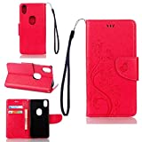 pinlu Schutzhülle Für BQ Aquaris X5 Plus (5 Zoll) Handyhülle Hohe Qualität PU Ledertasche Brieftasche Mit Stand Function Innenschlitzen Design Schmetterling Rose Red