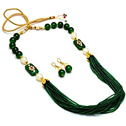 Jewar Necklace Mala Neck Chain New Look Green Design Kundan Ad Gemstones Jewelry 7713