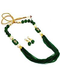 Jewar Necklace Mala Neck Chain New Look Green Design Kundan Ad Gemstones Jewelry 7713