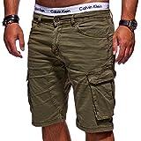 MT Styles Herren Cargo-Shorts Bermuda Kurze Hose Chino X-6718 [Khaki, W36]