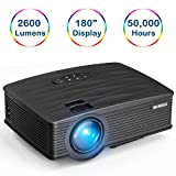 "LED Video Projector, WiMiUS Portable LCD Home Cinema Projector 2200 lumen 180"" Display"