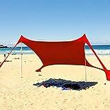 Tienda de playa al aire libre Instantánea Cabana Canopy Sunwall Familia Tienda en la playa Sombrilla Sombrilla UPF50 Protección UV Tienda con 2 postes de acero plegables y ligeros 4 Bolsas de arena An Tiendas de campaña