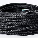 Textilkabel Textilummanteltes Kunststoffleitung Stoffkabel Stromkabel / 3-adrig 3x0,75mm² mit Erdleiter, Lampezubehör (5m, schwarz)