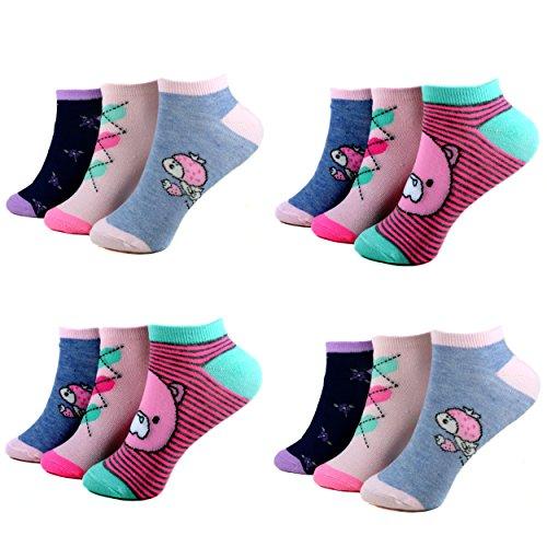 12 Paar Kids Mädchen Socken Kinder Sneaker Ladies Sport Strümpfe Baumwolle Art.C-2. Größe 23-38 Kurzsocken (31-34, C-218)
