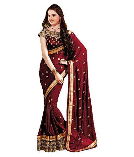 Margi Designer Sarees Georgette Festival Wear Embroidery Traditional Sarees With Blouse Piece
