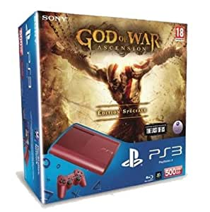 Console PS3 Ultra slim 500 Go rouge + God of War : Ascension - édition spéciale