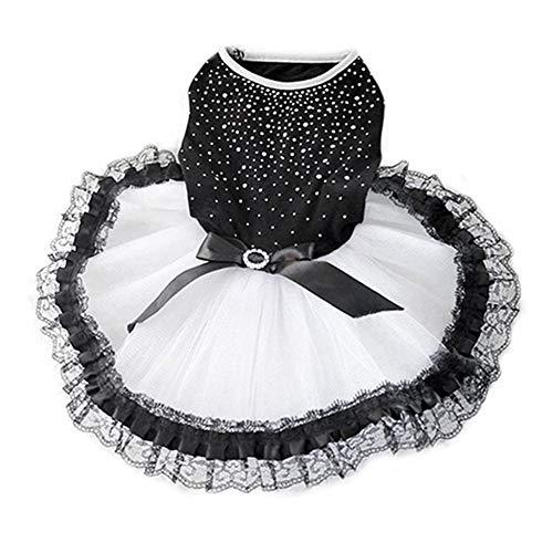 7°MR Glitter Bow Lace Dog Prinzessin Tutu Kleid Blase Rock Haustier Kleidung Puppy Kostüm (Color : Black, Size : L) (Prinzessin Glitter Kostüm)
