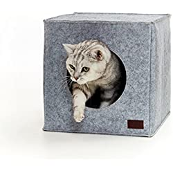 PiuPet Cama de Gato by Incl. cojín | Casa de Gato Adecuada para IKEA Kallax & Expedit | Cueva Comoda en Gris óptica de Fieltro | Diseño Elegante y Moderno |