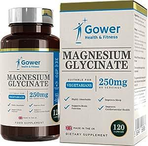 Integratore magnesio glicinato [250 mg] - 120 compresse (2 MESI DI FORNITURA) | Capsule vegane, senza glutine, senza OGM | Prodotto nel Regno Unito | 100% soddisfatto o rimborsato