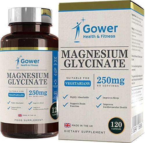 Glicinato de Magnesio 250mg - 120 Capsulas Vegetarianas (2 MESES DE SUMINISTRO) - Suplementos Magnesio de Alta Biodisponibilidad - Fabricado en UK en instalaciones con licencia ISO