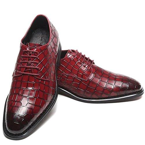 Männer Das Geschäft Oxford-Schuhe Aus Echtem Leder Schnürer Elegante Schuhe Spitzschuh Plaid Derby-Schuh Für Hochzeit Work Party,Red-42 - Elegante Plaid