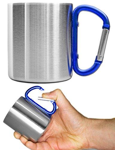 OUTDOOR SAXX® - Outdoor-Becher, Camping-Tasse | kompakt leicht 200 ml mit geschraubtem blauem Karabiner-Griff Edelstahl | für Wandern, Trekking, - Edelstahl Camping-kaffee-topf