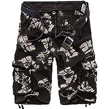 Hombre Pantalones Cortos Cargo Sueltos Militares Shorts Bermuda De Multi-Bolsillo(Sin Cinturon)