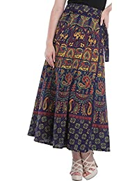 Exotic India Wrap-Around Long Skirt From Pilkhuwa With Animal Print - Color Patriot BlueGarment Size Free Size