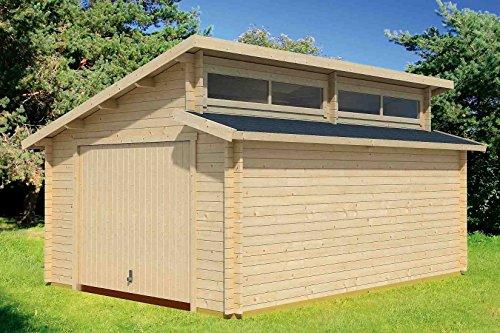 Holzgarage H166 inkl. Schwingtor - 44 mm Blockbohlenhaus, Grundfläche: 20,30 m², Stufendach