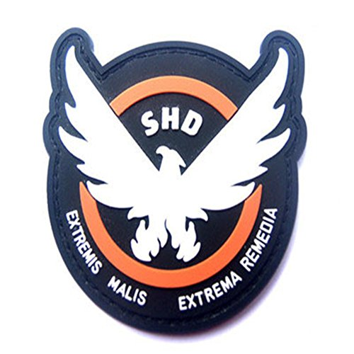 Patches Gummi-Abzeichen, The Division SHD Extremis Malis Extrema Remedia Runde Rot PVC Airsoft Paintball Klettverschluss-Flecken Kader Patch (9 cm)