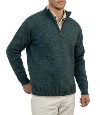 Wool Overs Pull camionneur homme en pure laine Bleu paon/Grège M