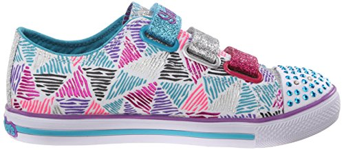Skechers Chit Chat Sparkle Express, Baskets Basses Fille Blanc