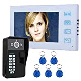 """MCJL 7""""TFT videocitofono Campanello citofonico Sistema di identificazione delle Impronte digitali RFID Password Visione Notturna Telecamera di Sicurezza CCTV per la Sicurezza Domestica, Villa, Hotel"""