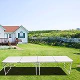 Campingtisch Klapptisch Gartentisch Picknicktisch Koffertisch Biergartentisch Aluminium Geeignet für Picknick, Camping, Party, Grill im Freien, Abendessen usw., 240 x 60,5 x 54,5 cm