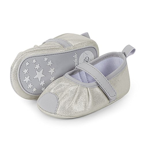 chen Ballerina Lauflernschuhe, Silber (Lichtgrau), 15/16 EU (Baby Schuhe Mädchen Silber)