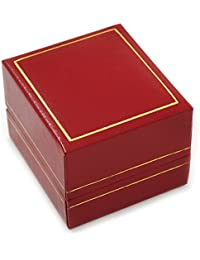 Burgundy Red Leatherette Ring Box