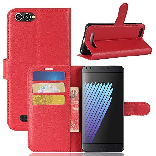 Adrian B Gonzalez Doogee X30 Hülle, Einfarbig Litchi Muster Brieftasche Stil Vordere Schnalle Flip PU Ledertasche mit Kartensteckplätzen für Doogee X30 (Farbe : Rot)