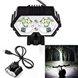 HCFKJ 6000LM 2X CREE XM-L T6 LED USB Waterproof Lamp Bike Bicycle Headlight