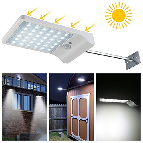 LEDMO Luces sensor solares LED,36 leds foco solar sensor led,IP65 Impermeable luz led exterior pared Luz de sensor de movimiento inalámbrico para Jardin,Patio,Camino(1pack)