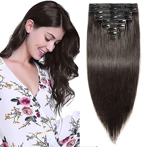 Clip in Extensions Echthaar Remy Haarverlängerung für komplette Haare 8 Tressen Doppelt Dicke 50cm-150g(#1B Naturschwarz)
