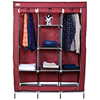 Kurtzy Microfiber Foldable Portable Collapsible Wardrobe with 6 Cabinet and 2 Long Shelves Organizer Hanging Rail Rack (Red)