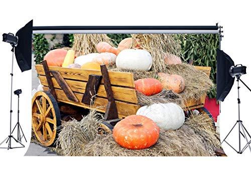 rnte Hintergrund Kürbis Stroh Heuhaufen Kulissen Rustikale Alte Scheune Bauernhof Auto Vintage Holzwagen Fotografie Hintergrund Halloween Dank Gaving Photo Studio Requisiten ()