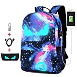 AUTOECHO Anime Luminous Backpack Outdoor Mochila Daypack School Bag Laptop Bag - Outdoor Niños Luminous Backpack con Cerradura antirrobo Pecil Case USB Cable - Boys Girls Unisex Mochila Escolar
