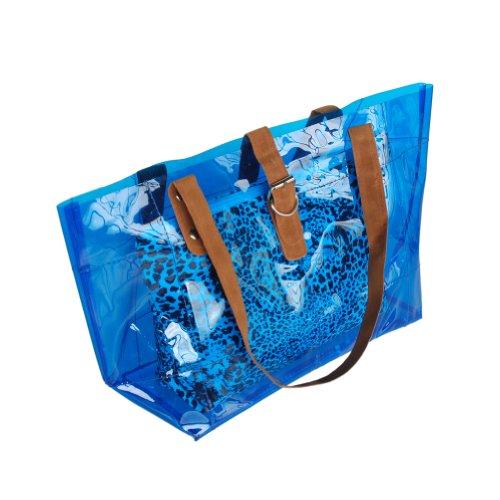 [Lucky Bleu] Leopard Poignée double sacoche sac à main en similicuir Style décontracté