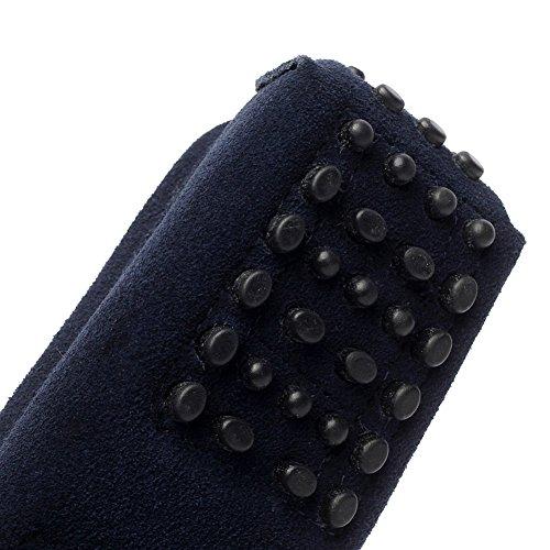 Rismart aux femmes Mode Glisser sur Mocassins Décontractée Suède Chaussures Bleu marin