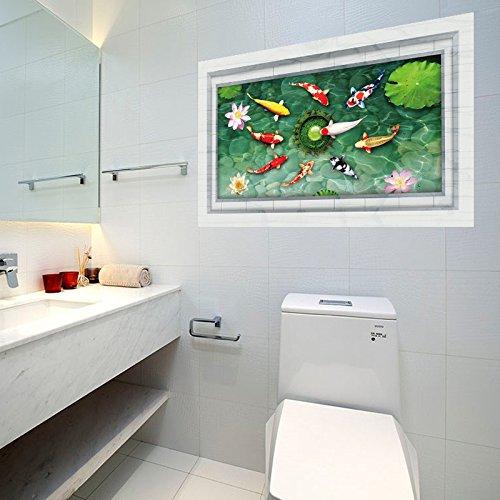 GOUZI Umwelt Aufkleber Teich Fisch 3D Boden Glas Layout Umwelt Aufkleber 60 * 90CM Wandaufkleber Entfernbare Wandaufkleber für Schlafzimmer Wohnzimmer Hintergrund Wand Badezimmer Studie Barber Shop