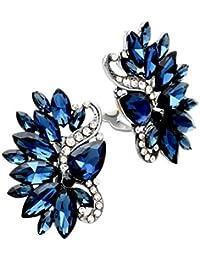Schmuckanthony Designer Luxus Ohrringe Ohrclips Clips Klips Clip Kristall Klar Blau Marine